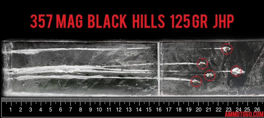 Gel test results for Black Hills Ammunition 125 Grain Jacketed Hollow-Point (JHP) ammo