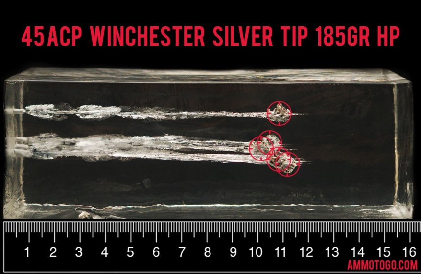 Gel test results for Winchester Ammunition 185 Grain Jacketed Hollow-Point (JHP) ammo