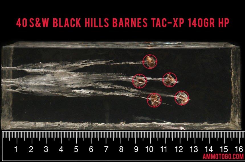 20rds – 40 S&W Black Hills 140gr. Barnes TAC-XP HP Ammo fired into ballistic gelatin