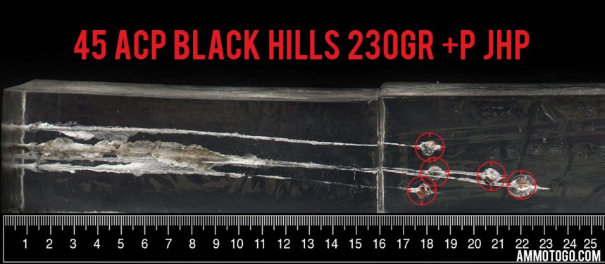 Gel test results for Black Hills Ammunition 230 Grain Jacketed Hollow-Point (JHP) ammo