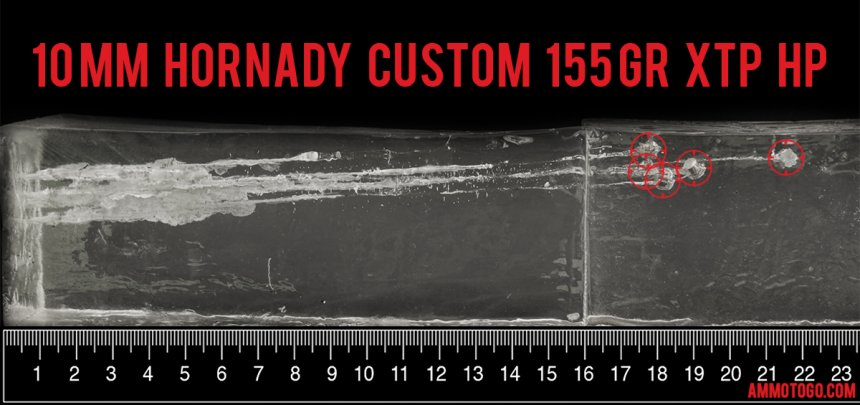 Hornady Ammunition 155 Grain 10mm Auto ammunition fired into ballistic gelatin