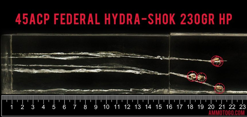 Gel test results for Federal Ammunition 230 Grain Jacketed Hollow-Point (JHP) ammo