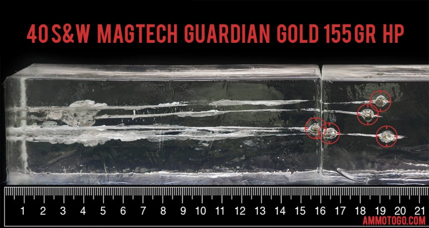 Gel test results for Magtech 155 Grain Jacketed Hollow-Point (JHP) ammo