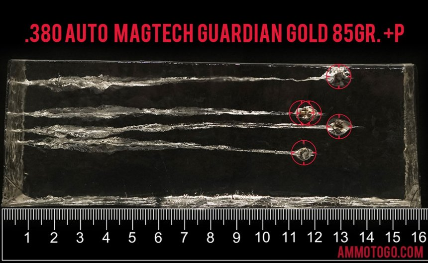 Gel test results for Magtech 85 Grain Jacketed Hollow-Point (JHP) ammo