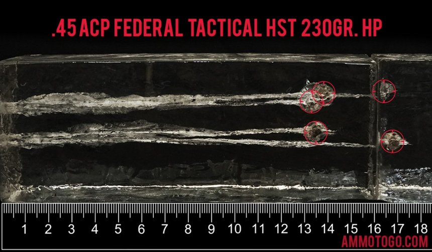 Federal Ammunition 230 Grain 45 ACP (Auto) ammunition fired into ballistic gelatin