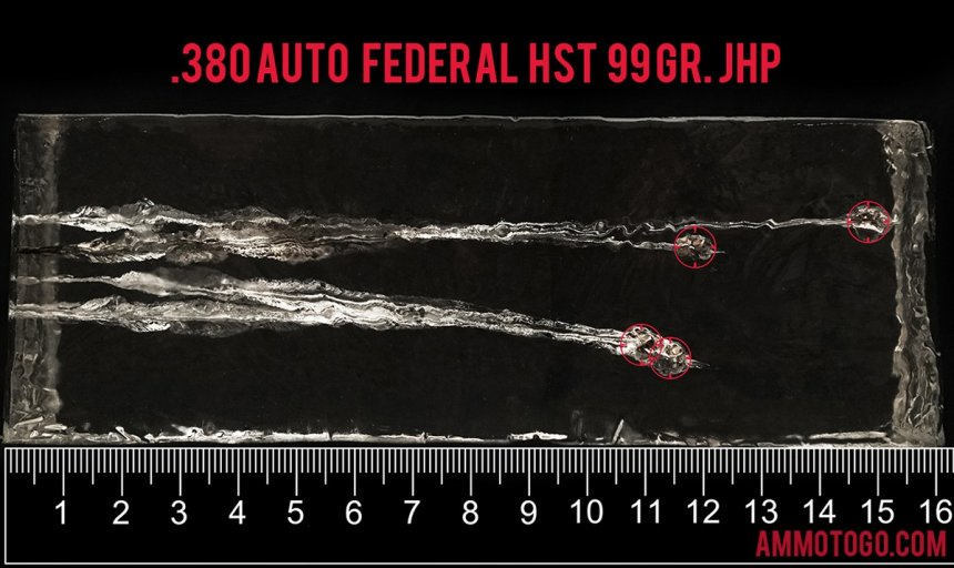 20 Rounds – 380 Auto Federal Personal Defense 99 Grain HST JHP Ammo fired into ballistic gelatin
