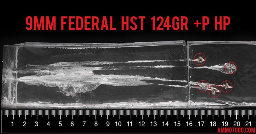 Gel test results for Federal Ammunition 124 Grain Jacketed Hollow-Point (JHP) ammo