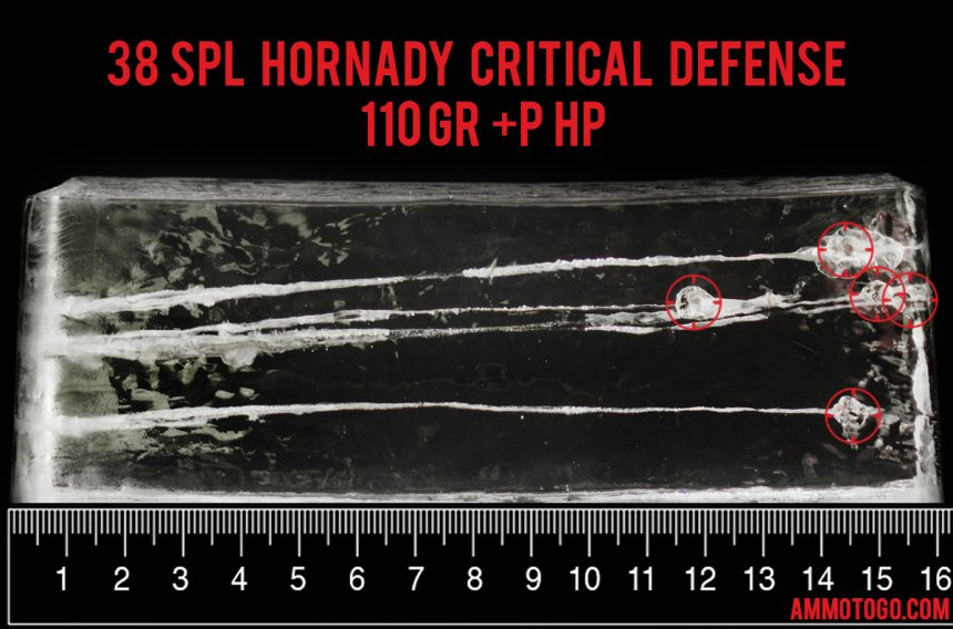 Hornady Ammunition 110 Grain 38 Special ammunition fired into ballistic gelatin