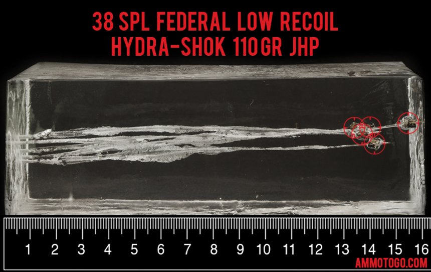 Gel test results for Federal Ammunition 110 Grain Jacketed Hollow-Point (JHP) ammo