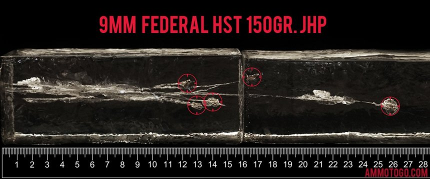 Federal Ammunition 150 Grain 9mm Luger (9x19) ammunition fired into ballistic gelatin