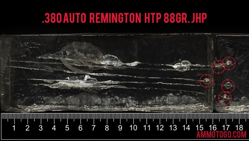 Gel test results for Remington Ammunition 88 Grain Jacketed Hollow-Point (JHP) ammo