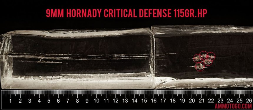 250rds - 9mm Hornady Critical Defense 115gr. HP Ammo fired into ballistic gelatin