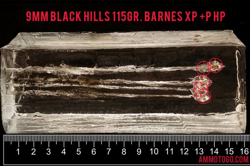 Black Hills Ammunition 115 Grain 9mm Luger (9x19) ammunition fired into ballistic gelatin
