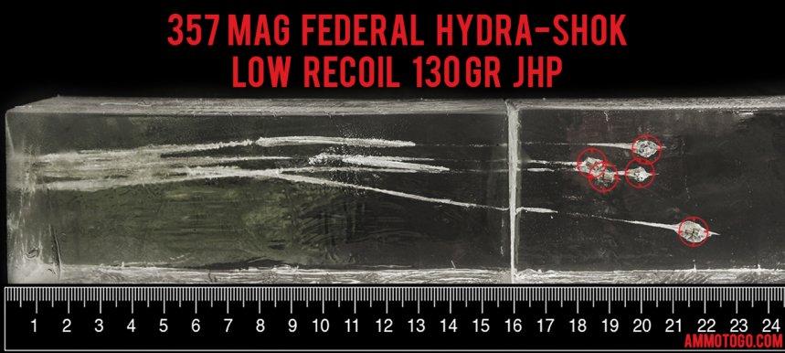 20rds - 357 Mag Federal Hydra-Shok PD 130gr. HP Ammo fired into ballistic gelatin