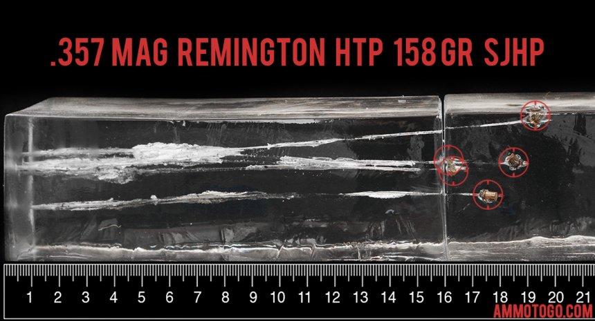 Remington Ammunition 158 Grain 357 Magnum ammunition fired into ballistic gelatin