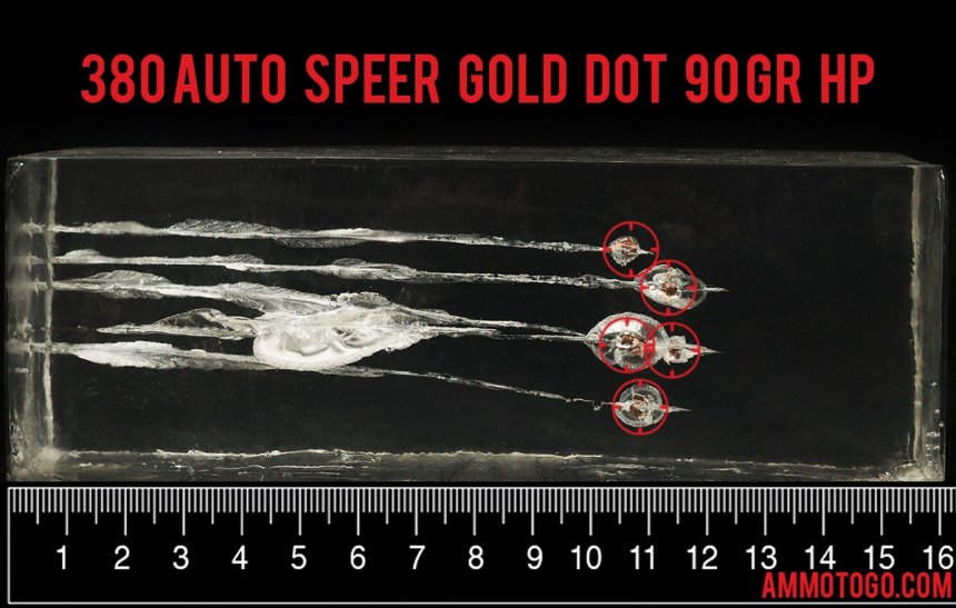 Gel test results for Speer 90 Grain Jacketed Hollow-Point (JHP) ammo