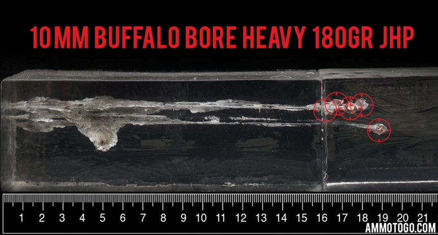 20rds – 10mm Buffalo Bore 180gr. JHP Ammo fired into ballistic gelatin