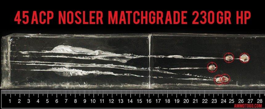 50rds - 45 ACP Nosler Match Grade Handgun 230gr. JHP Ammo fired into ballistic gelatin