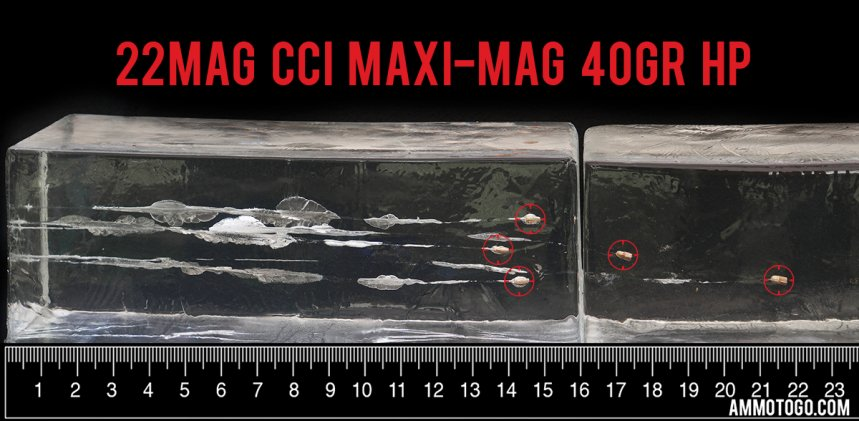 Gel test results for CCI Ammunition 40 Grain Jacketed Hollow-Point (JHP) ammo