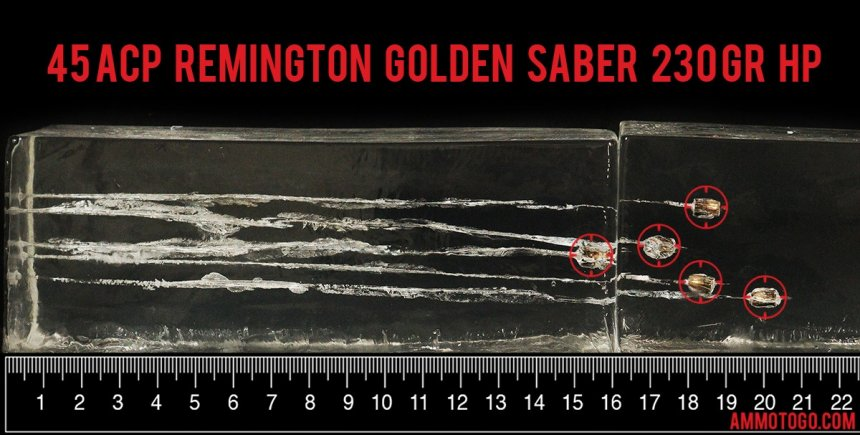 Remington Golden Saber 45 ACP ammo test