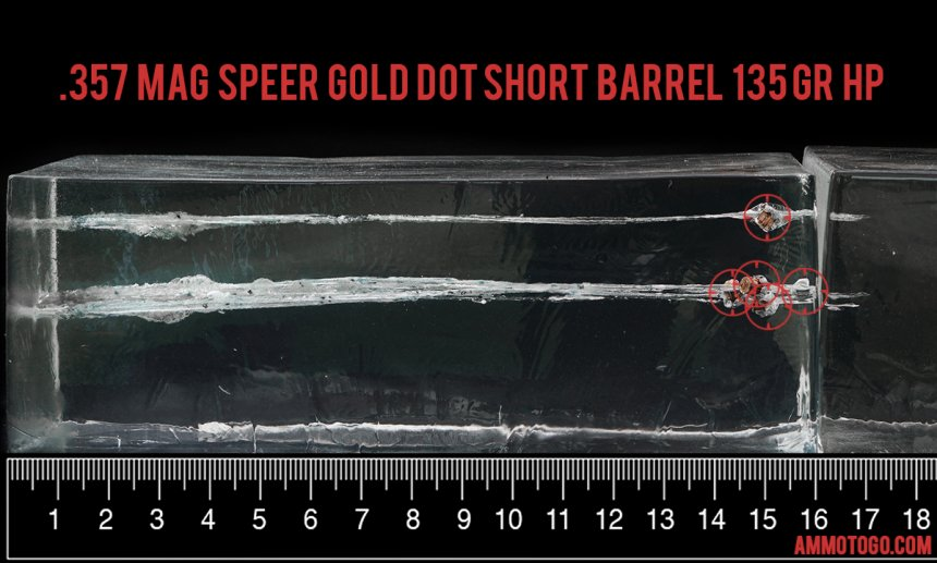 Gel test results for Speer 135 Grain Jacketed Hollow-Point (JHP) ammo