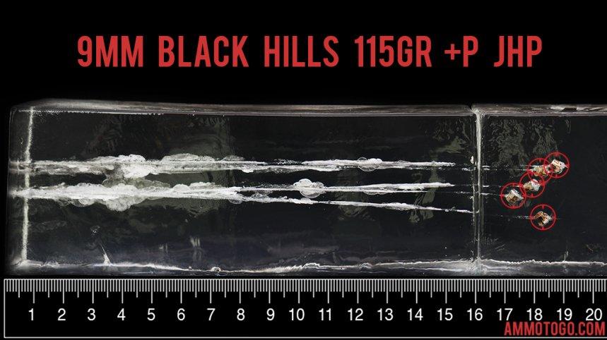 Black Hills Ammunition 115 Grain 9mm Luger (9x19) ammunition fired into ballistic gelatin
