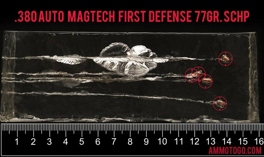 Magtech 77 Grain 380 Auto (ACP) ammunition fired into ballistic gelatin