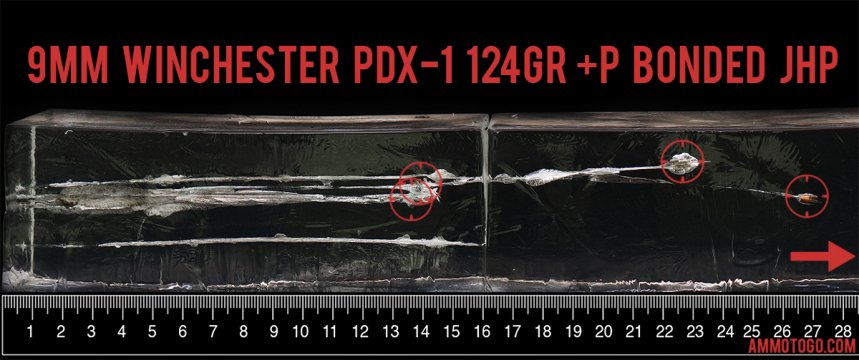 Winchester Ammunition 124 Grain 9mm Luger (9x19) ammunition fired into ballistic gelatin