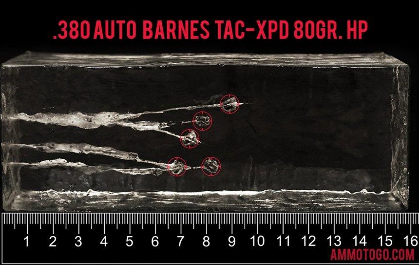 Barnes Bullets 80 Grain 380 Auto (ACP) ammunition fired into ballistic gelatin