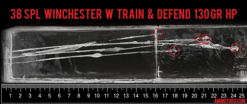 20rds - 38 Special Winchester W Train and Defend 130gr. JHP Ammo fired into ballistic gelatin