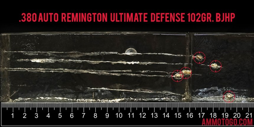 20rds - 380 Auto Remington Ultimate Defense 102gr. BJHP Ammo fired into ballistic gelatin