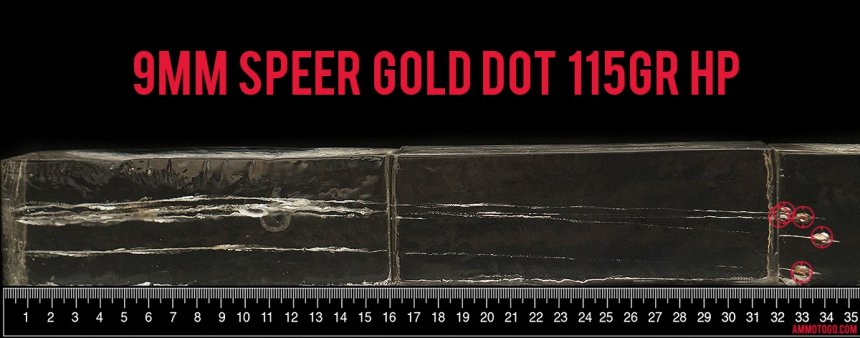 Gel test results for Speer 115 Grain Jacketed Hollow-Point (JHP) ammo