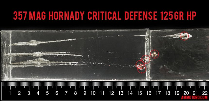 250rds - 357 Mag Hornady Critical Defense 125gr. FTX Hollow Point Ammo fired into ballistic gelatin
