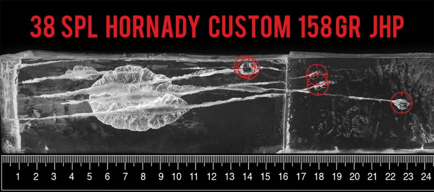 Hornady Ammunition 158 Grain 38 Special ammunition fired into ballistic gelatin