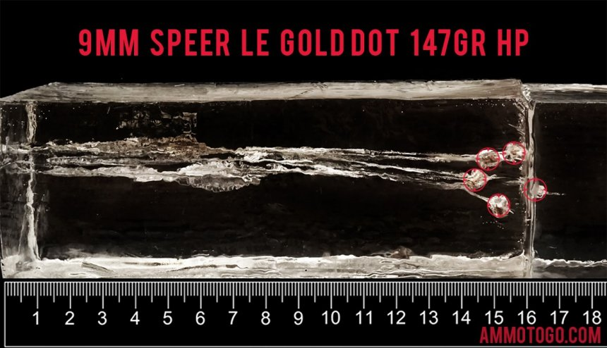 50rds - 9mm Speer LE Gold Dot 147gr. HP Ammo fired into ballistic gelatin