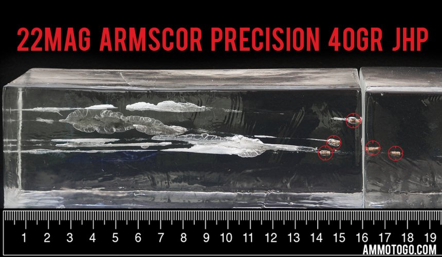 50rds – 22 WMR Armscor Precision 40gr. JHP Ammo fired into ballistic gelatin