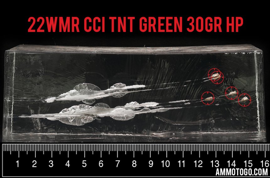 50rds – 22 WMR CCI TNT Green 30gr. HP Ammo fired into ballistic gelatin