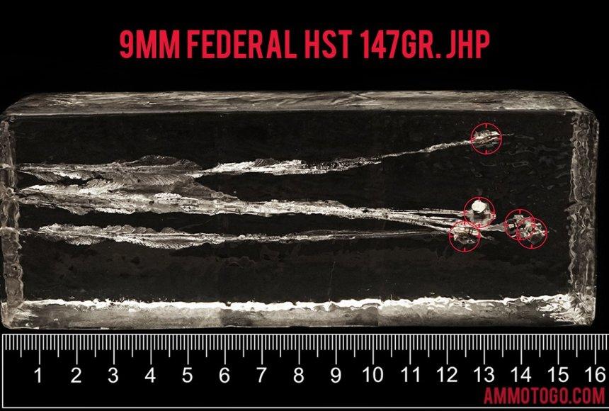 Federal Ammunition 147 Grain 9mm Luger (9x19) ammunition fired into ballistic gelatin