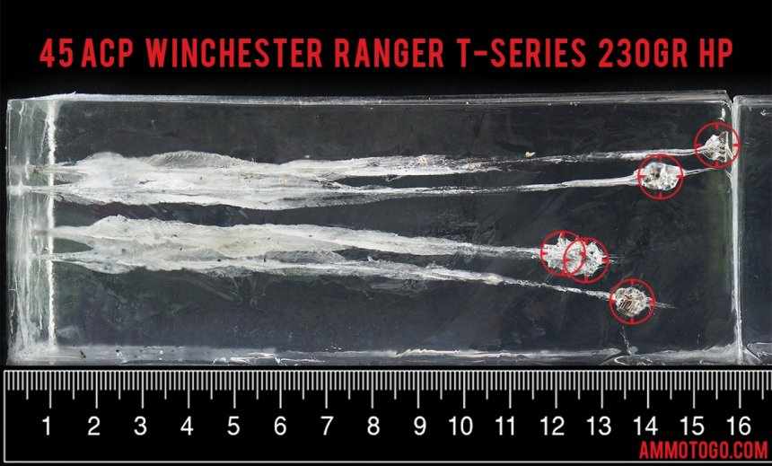 Winchester Ammunition 230 Grain 45 ACP (Auto) ammunition fired into ballistic gelatin