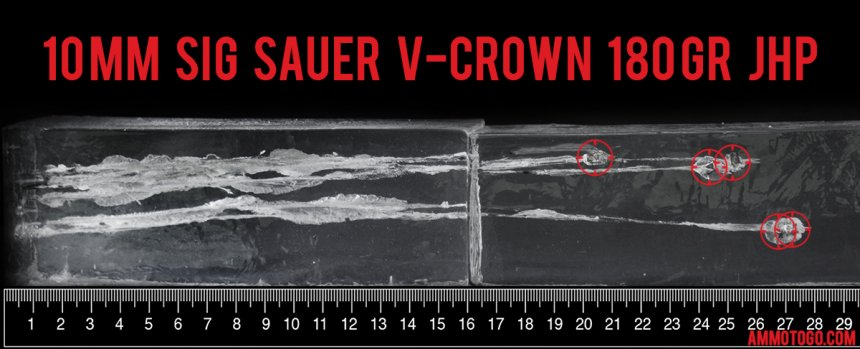 20rds – 10mm Sig Sauer V-Crown 180gr. JHP Ammo fired into ballistic gelatin