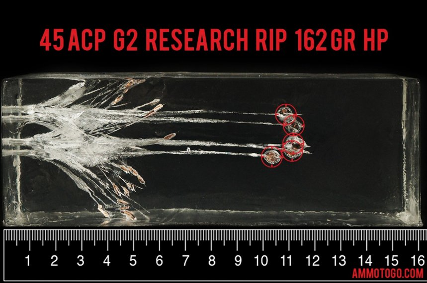 Gel test results for G2 Research 162 Grain Jacketed Hollow-Point (JHP) ammo
