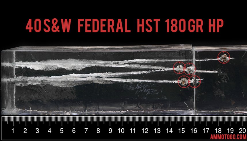 Federal Ammunition 180 Grain 40 Smith & Wesson ammunition fired into ballistic gelatin