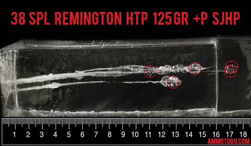 Remington Ammunition 125 Grain 38 Special ammunition fired into ballistic gelatin