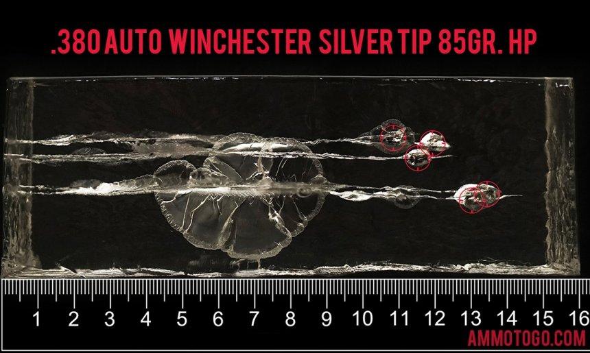 Winchester Ammunition 85 Grain 380 Auto (ACP) ammunition fired into ballistic gelatin