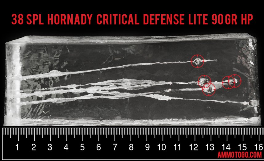 25rds - 38 Special Hornady Critical Lite Defense 90gr. FTX Ammo fired into ballistic gelatin