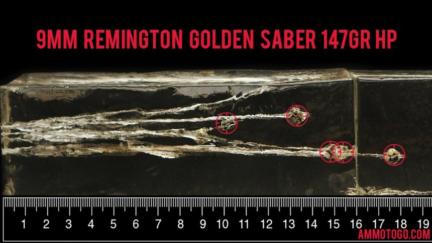 Gel test results for Remington Ammunition 147 Grain Jacketed Hollow-Point (JHP) ammo