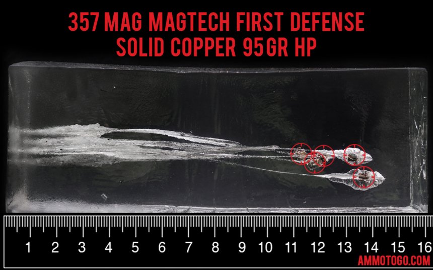 Gel test results for Magtech 95 Grain Jacketed Hollow-Point (JHP) ammo