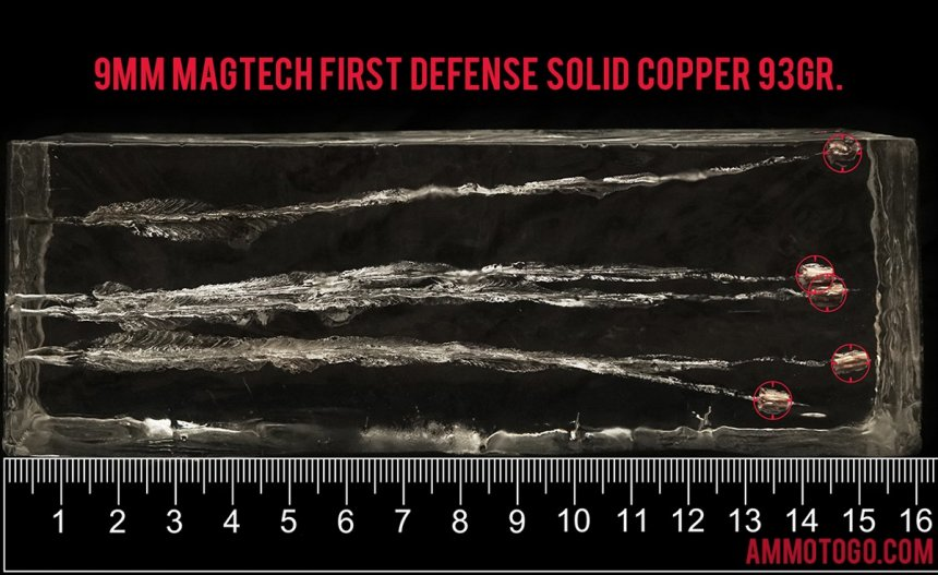 Magtech 92.6 Grain 9mm Luger (9x19) ammunition fired into ballistic gelatin
