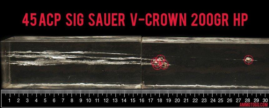 Sig Sauer 200 Grain 45 ACP (Auto) ammunition fired into ballistic gelatin