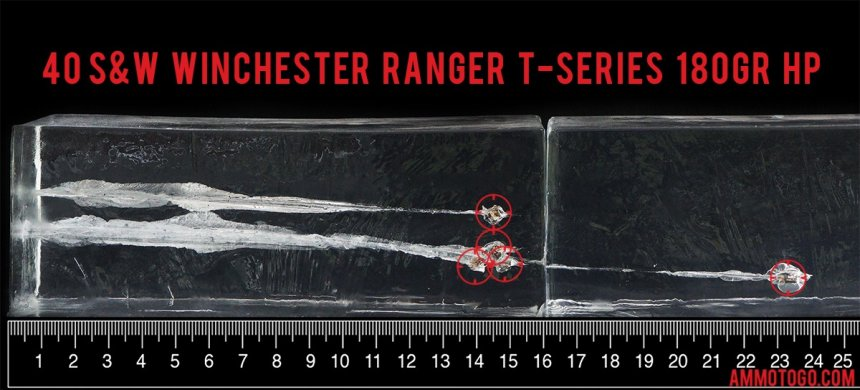 50rds – 40 S&W Winchester Ranger T-Series 180gr. JHP Ammo - Law Enforcement Trade-In fired into ballistic gelatin